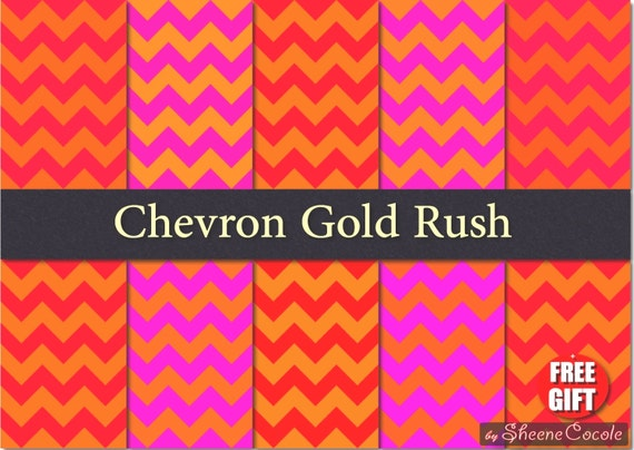Pink and Gold party Chevron digital paper Red Scrapbook Printable Invitation Background metallic gold chevron paper Gold scrapbooking paper