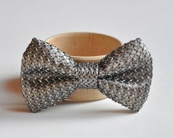 Dark Silver Bow Tie. Men's Bow Tie. Glanced Bow Tie. Groom Bow Tie. Wedding Bow Tie