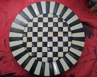 Lazy Susan, McKenzie Child like design.  hand painted Black and White checker board center with black and white piano keys outer band