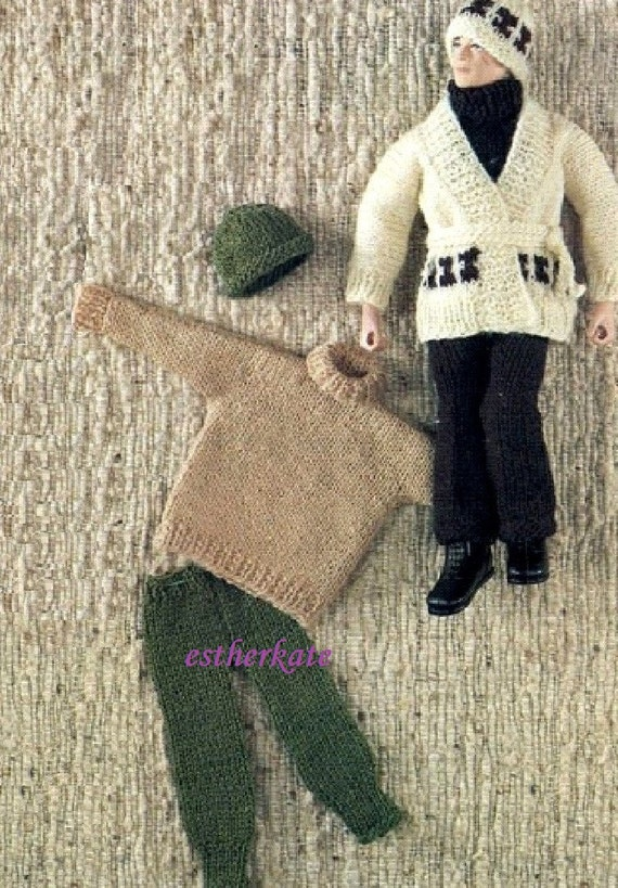 How To Knit Loops On A Pattern : VINTAGE knitting pattern pdf, Action Man Ken doll clothes sweater cardgian tr...