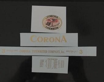 Corona Folding Typewriter Water Slide Decal set
