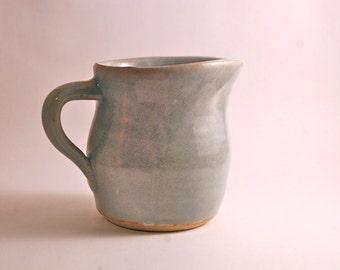 Stoneware Creamer in Eggshell and Light Blue Shino