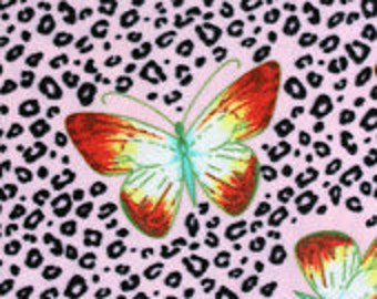 Butterfly on Cheetah Flannel Fabric Sold by the Yard