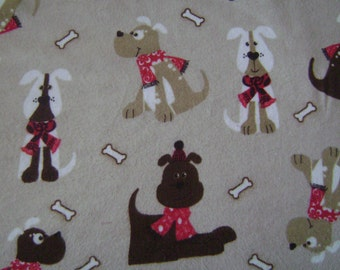 Scarved Dogs Bones Tan Flannel Fabric by the yard