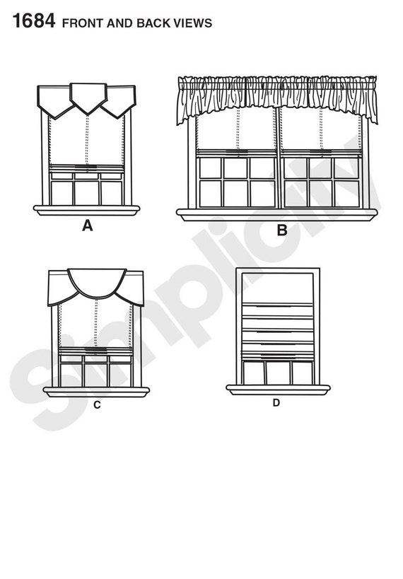 Simplicity pattern 1684 roman shades and valances from ggselections on etsy studio