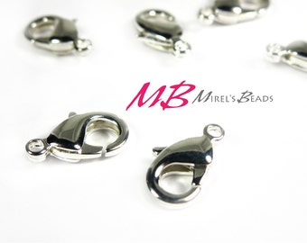 25 Silver Plated Lobster Claw Clasp, High Quality Silver Plated 10x6mm