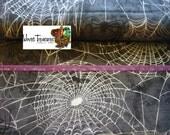 Gothic Glam Silver Spiderwebs - 1 yard - Benartex