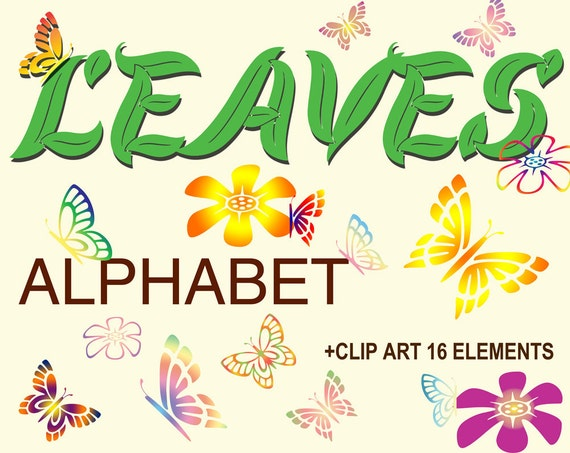 Digital Green Leaves Alphabet For Scrapbooking By