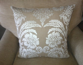 Designers Guild Fabric Cushion Cover in Ombrione Chalk with Beige Linen Backing