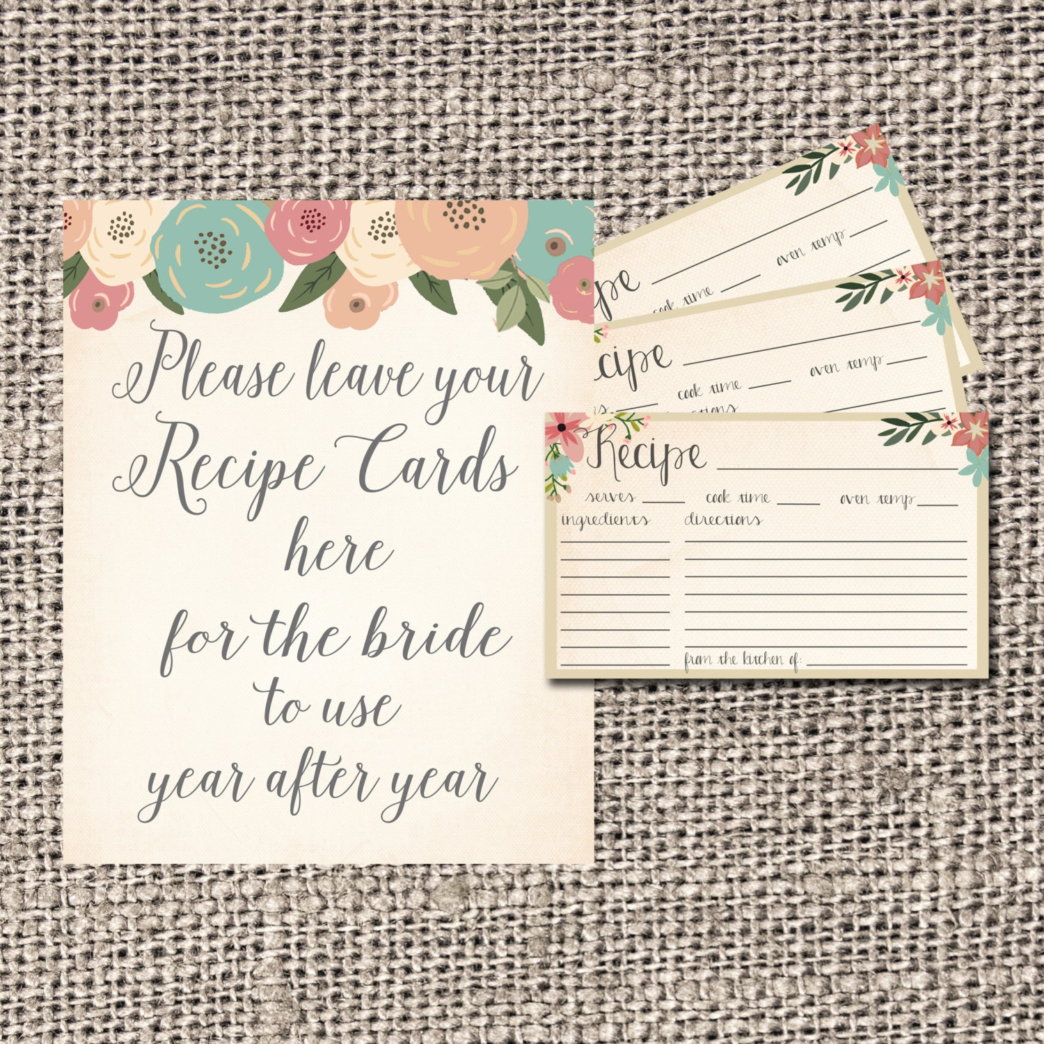 Kitchen Tea Quotes For Cards: Recipe Card Bridal Shower Recipe Card Flowers By
