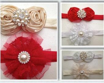 Set of two baby rhinestone headbands..newborn white and red and ivory headbands
