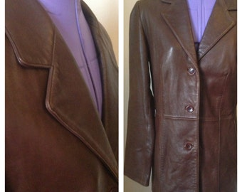 1990's vintage fitted blazer style ladies brown leather jacket