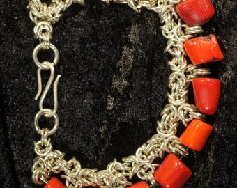 Coral Chainmaille Bracelet