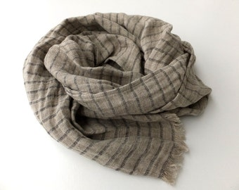 mens linen scarf black and grey striped