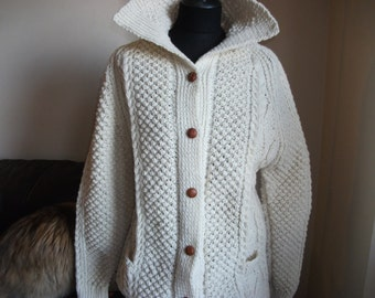 10% Off Genuine Aran Handknitted Pure Wool Cardigan Adult size with Pockets Promo Code 2802016