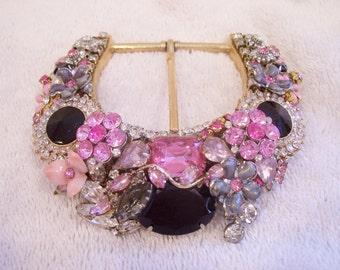 Handmade Beautiful Pink, Black, Grey, and Clear Rhinestone Jeweled Belt Buckle.