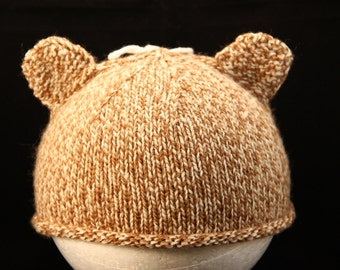 Infant Toddler Hat 2+ year old - Teddy Bear - knit baby hat - baby knit hat  - baby hat knit - knit hat - baby photo prop
