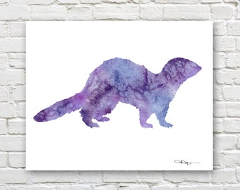 Ferret Art Print - Abstract Watercolor Painting - Wall Decor