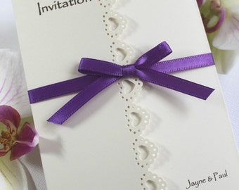 25 Handmade personlised Wedding Invitations heart