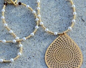 Swarovski Pearl and Gold Matte Teardrop Necklace