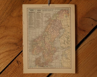 "1921 - Sweden Map - Antique Atlas Map 6"" x 8"""