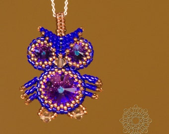 Cute beaded owl pendant with swarovski crystals.Blue purple pendant. Handmade jewelry. Jewelry for her.
