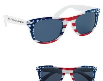 100 Patriotic Sunglasses, Personalized Red, White and Blue Flag Sunglasses, Patriotic Party Favors, American Flag Sunglasses