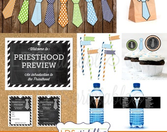 YMPP002 - Priesthood Preview Cupcake Toppers and Necktie cupcake Toppers LDS Primary
