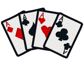BUY 2, GET 1 FREE - Bridge, Poker, Vegas, Bunco, Four Aces Playing Cards Machine Embroidery Design in 3 Sizes - 4x4, 5x7, 6x10