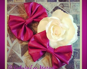Magenta Passion: Shiny Magenta Hairbow Set