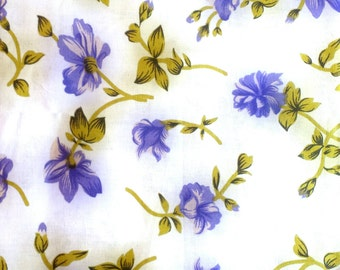 Spring Blues: Light Blue Fabric with Purple Floral Designs