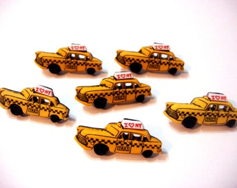 Taxi Cab Button New York Shank Set of 6