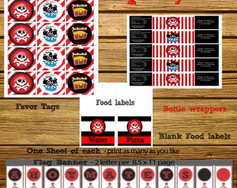 INSTANT DOWNLOAD - Pirate Party Decorations- Pirate Party Favors - Pirate Party