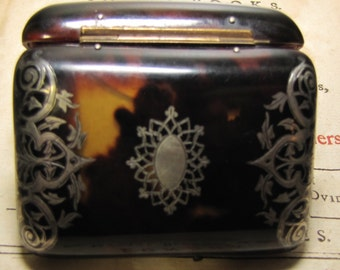 French Antique Inlaid Piqué Tortoise Shell Coin Purse with Silver Inlay & Silk Lining