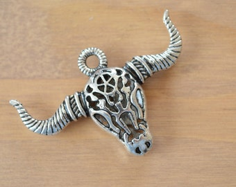 Horned Cattle Skull Pendant ~ Large  ~ Antique Silver