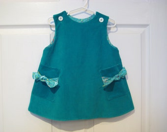 Infant toddler girls jumper dress. Corduroy a-lined  dress.  Size 1 and 2.  Ready to ship