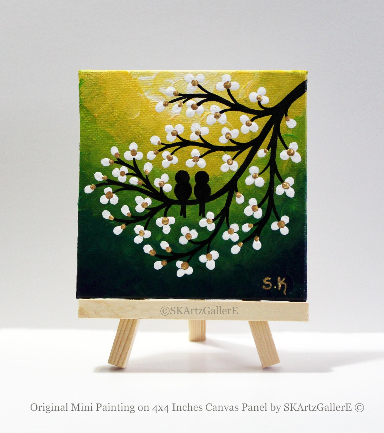 mini canvas art love birds painting yellow green art mini
