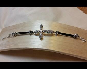 Rhinestone Cross and leather bracelet