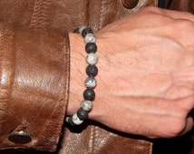 "Bracelet ""Mineral""Man into thin lava beads, stone"