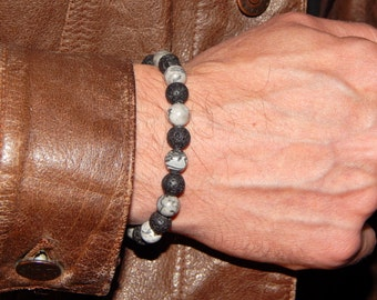 "Bracelet ""Mineral""Man into thin lava beads, stone"