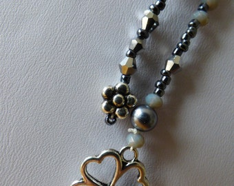 Clover necklace grey 4 cores - Made in FRANCE