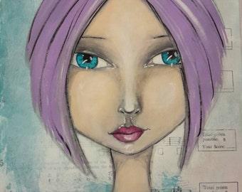 Mixed Media Original Art Print - blue eyed girl with purple hair on music sheet.