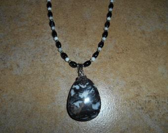 Zebra Stone Crystal Gemstone Pendant Necklace