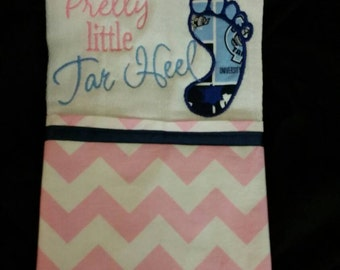 Burp cloth with pretty Lil tar heel embroidered on it