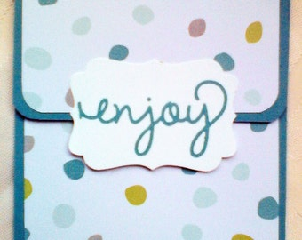 Handmade Gift Card Holders in various designs with word Enjoy on them