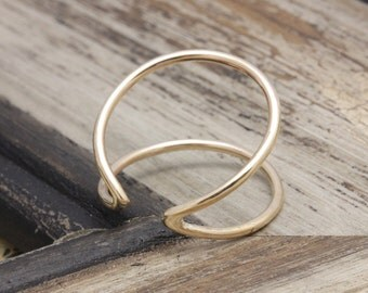 14 k gold filled open double line shell band ring , geometric ring, gift for her, bridesmaid gift, wedding gift