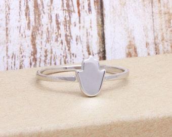 925 sterling silver plain hamsa band ring (R_00023)