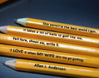 Personalized #2 Golf Pencils - Your Name or message engraved