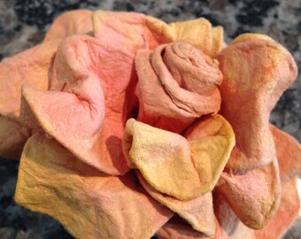 Paper Mache Peach Flower Brooch