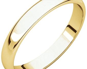 14K Yellow Gold 3mm Half Round Light Band Wedding Ring Custom Engraved Personalized CKLHRL